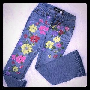 EXPRESS Jeans with floral decals and jewels